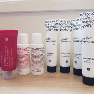 Assorted travel hair and body products