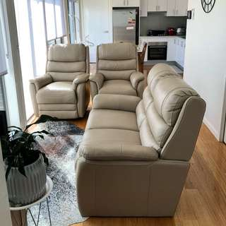 Genuine leather beige sofa set with 2 Recliners and a 2.5 seater
