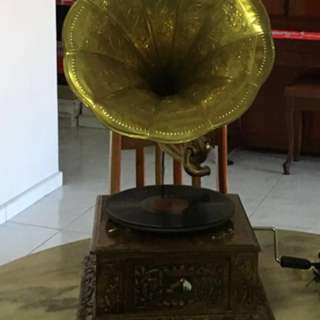 Gramophone with horn Antique