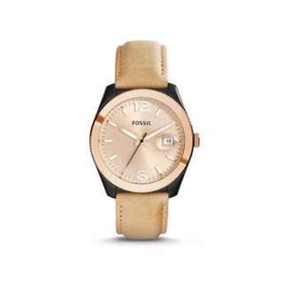 Preorder Fossil ES3777 Perfect Boyfriend Champagne Dial Brown Leather Ladies Casual Watch