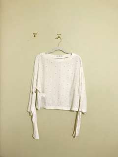 White Mango Blouse with Tie Sleeves
