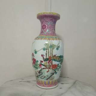 Older porcelain vase with enamel painting height 47cm perfect