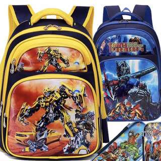 Little Transformer School Bag - FGR263  Size: 39*20*30cm (suitable for P1-P3 student) Size: 41*20*32cm (suitable for P3-P6 student)  Color: blue, yellow