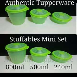Authentic Tupperware  Stuffables Mini set (3)   Comprises :-  Stuffables Mini 240ml (1) Stuffables Mini 500ml (1) Stuffables Mini 800ml (1)  Retail Price S$42.50 Now S$29.80