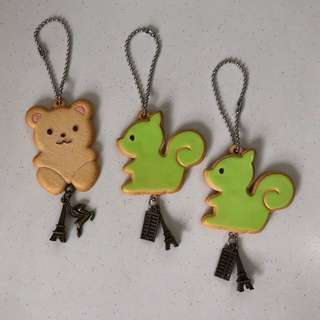 🌈Limited Edition Handmade 3pcs for $10 Adorable Cute Smiling Bear Squirrel Green Cookie Biscuit Keychain with Charms Rare