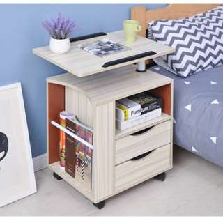 Multifunctional Bedside Table (Maple White and Dark Brown)