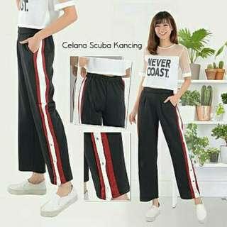 Celana Scuba Stripe Pants Girl. Celana Jogger Jogging Kulot Legging Jegging Training Murah .