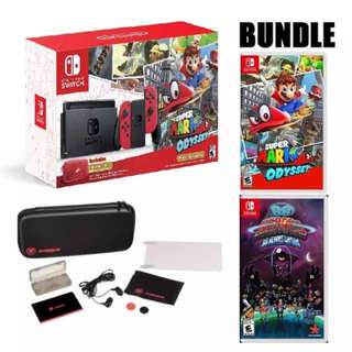 Brand New Nintendo Switch Console + Super Mario Odyssey Edition + 88 Heroes + Starter Kit set
