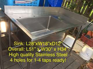 Stainless Steel table-Sink with edge side extend
