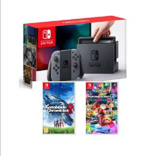 Brand New Nintendo Switch + Xenoblade Chronicles 2 + Mario Kart 8