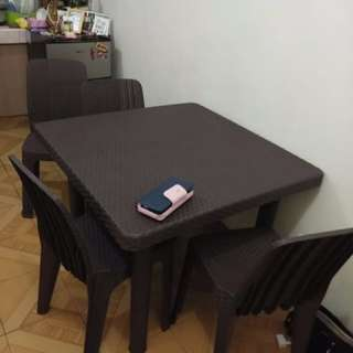 Plastic Rattan Table and Chairs