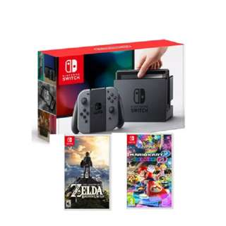 Brand New Nintendo Switch + Mario Kart 8 + Zelda BOTW