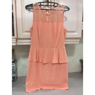 F21- Peach Peplum Dress