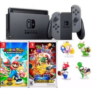 Brand New Nintendo Switch Console Grey + Mario Rabbids Kingdom Battle + Pokken Tournament + 1 Random Figurine