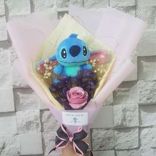 Stitch Bouquet with babybreath and rose