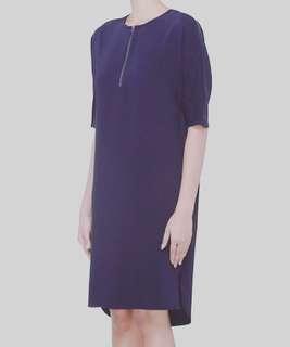 Zip Gusset Long Back Dress w/ 2 pockets