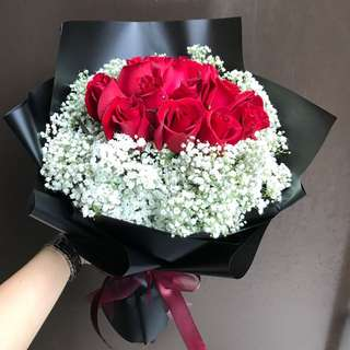 12 red roses with white Baby Breath Hand Bouquet