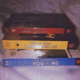 (RUSH!!!!) Selling my pre-loved books as a bundle for 500php, but you can buy it per piece for 200php -The Statistical Probability of Love at First Sight -This is What Happy Looks Like -The Geography of You and Me by Jennifer E. Smith