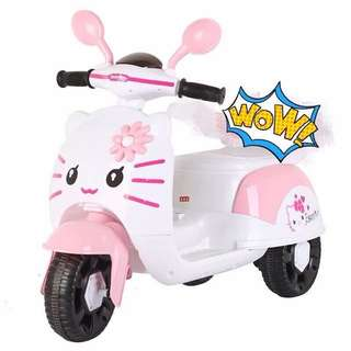 Hello Kitty Pink & White Electric Scooter Rechargeable Motorcycle Toy