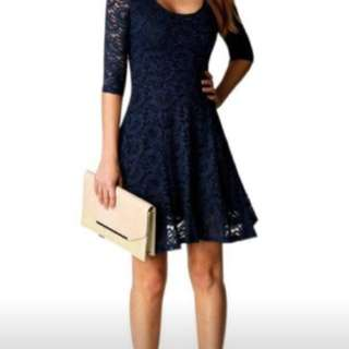 Navy Blue Lace Cocktail Dress NEW