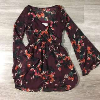 Abercrombie & Fitch Floral Dress w/ Bell Sleeves