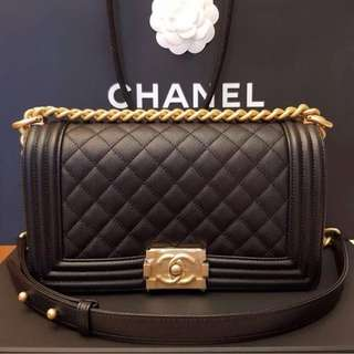 Brand New Chanel Boy Old Medium Black Caviar with GHW