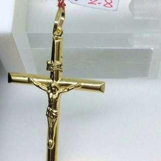 18K Saudi gold Crusifix pendant pawnable 100% Solid gold