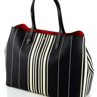 Authentic Tory Burch - Kerrington Striped Square Tote Bag