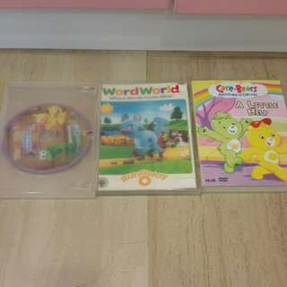 Pre-loved Word world and Carebears Dvds (selling set of 3 together)