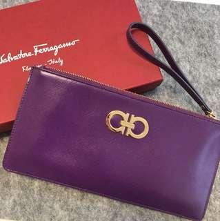 Salvatore Ferragamo 紫色手提wallet clutch