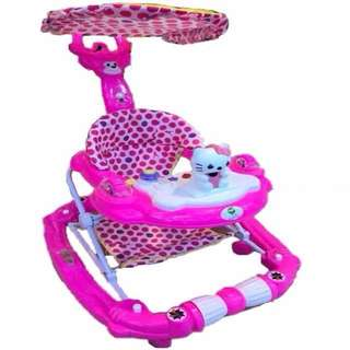 3 in 1 Hello Kitty Striped Baby Walker/Rocker/Stroller