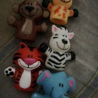 Rubber animal finger puppets