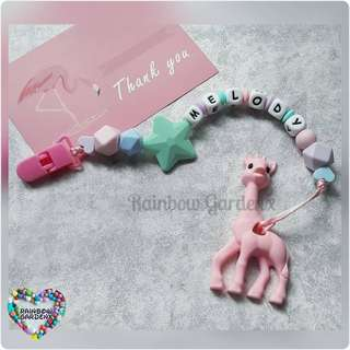 Handmade Customized Pacifier Clip with letter beads + Pastel Pink Giraffe Teether