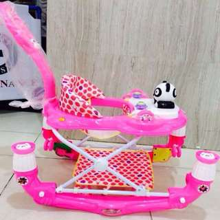 3 in 1 Panda Pink Baby Walker/Rocker/Stroller