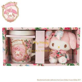 My Melody Mug Cup & Mascot Holder Set (My Melody meets LAURA ASHLEY)