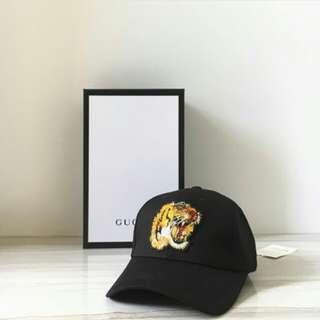 GUCCI TIGER FACE CAP BLACK