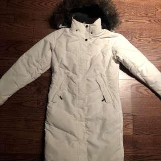 Long white winter parka