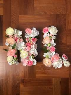 Customized Artificial Flower Initials