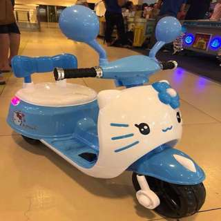 Hello Kitty Blue & White Electric Scooter Rechargeable Motorcycle Toy