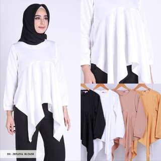 Blouse Zefleya Plain Asymmetric Muslim