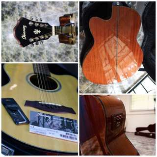 IBANEZ 8 Strings Electro Acoustic Guitar With Hardcase, Manual Book & Allen Key