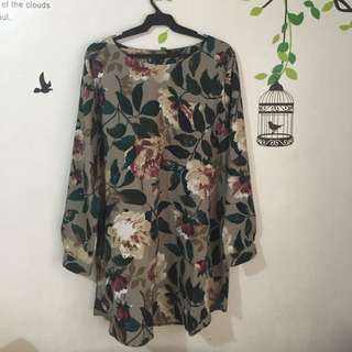 Plus Size Linen Floral Printed Shirt Dress (imported)
