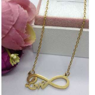 Authentic Bangkok Gold 10k Saudi Gold Infinity Love Centered Chain Necklace Non Tarnish (Not Pawnable)