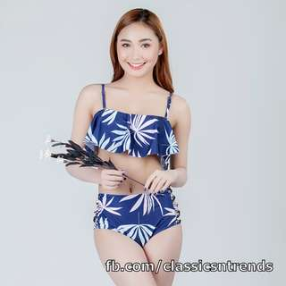 Blue Palm High Waist Two Piece Swimsuit - FREE SHIPPING!