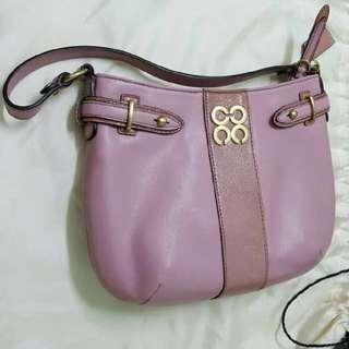 Coach 藕粉色 細袋 small bag 皮袋
