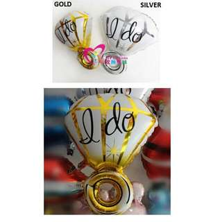 "Fancy Diamond Ring Shape with ""I Do"" Word Foil Balloon"