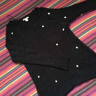 Black sweater (with cotton ball size accessories)