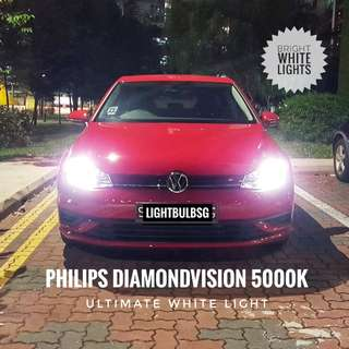 VW 1.0 Golf MK7.5 - white headlight / headlamp bulb replacement  (Philips Diamondvision) H7 H4 H8 H11 HB3 HB4