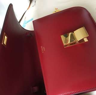 Celine box classic bag red