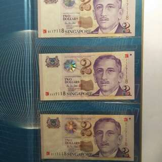 The new millennium Sg $2  note  1sets 3pcs 0117118.  1117118. 2117118